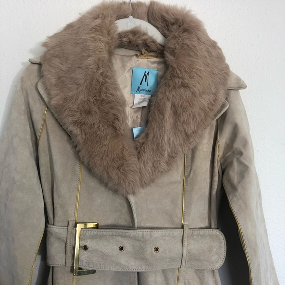 Marciano Jackets & Blazers - Marciano suede and faux fur trim belted coat